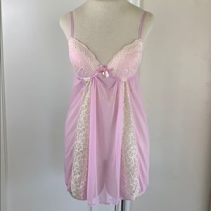 Jessica Simpson mesh & lace babydoll lingerie slip